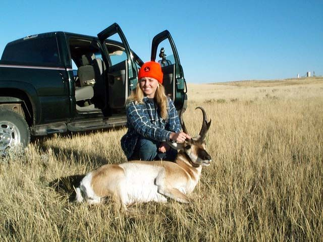 My wifes 2003 Pronghorn My wife shot this just a few minutes into opening day, again not as big as prior years but extremely fun. She used her .243 again as usual