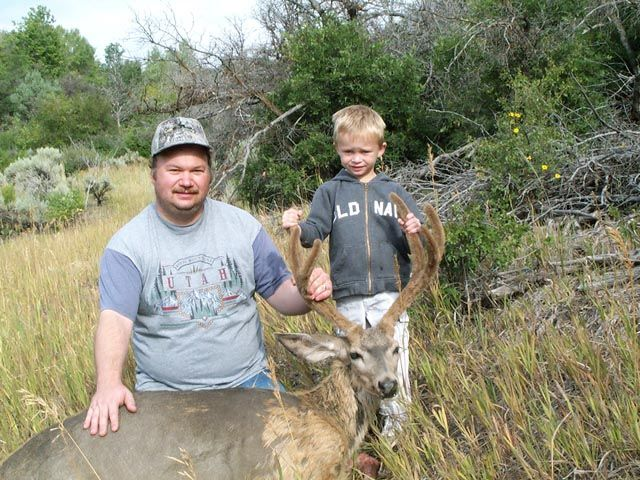 2004 4x3 Archery Mule Deer And another pict, this time with my boy who was again as excited as ever to get to go hunting.