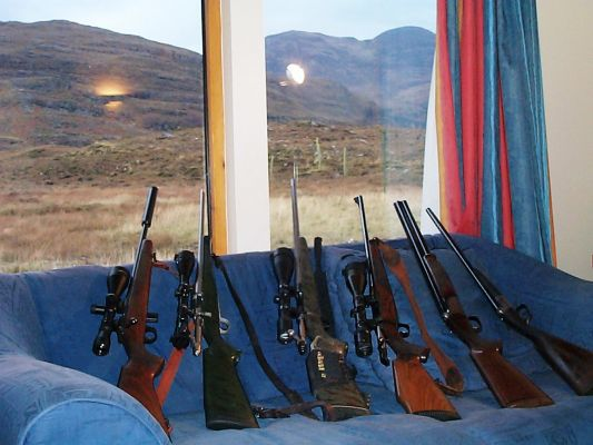 All angles covered! On a weeks hunting trip to Scotland we thought we better take enough firepower, 