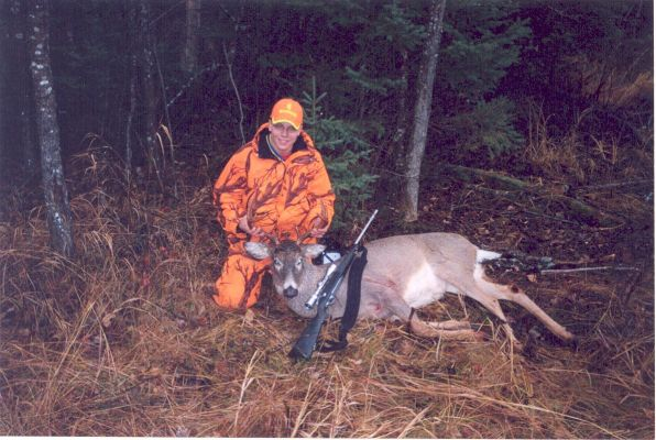 Whitetailed Deer I shot this in Ontario Canada on November 4th 2005. I was using a browning 30-06. Its a nine point with a 19 inch spred and weighed about 245 pounds.