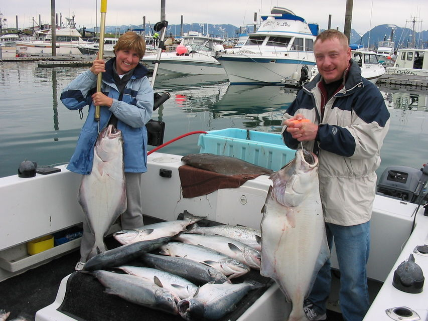 Click to view full size image  ==============  Saltwater Not bad for a morning's fishing !! Keywords: Halibut Salmon