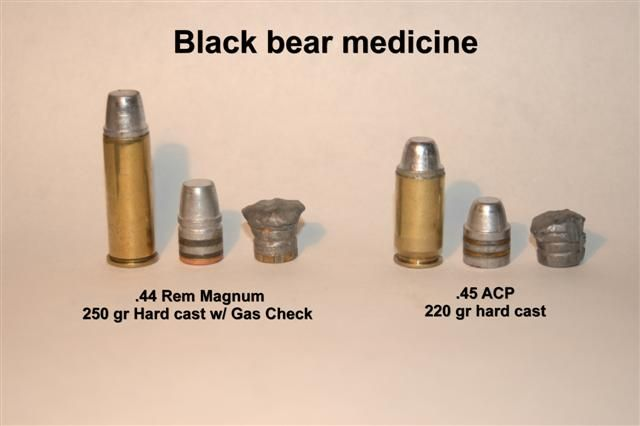 Bear Medicine 250 gr .44 mag and 220 gr .45 acp bullets before and recovered from black bears