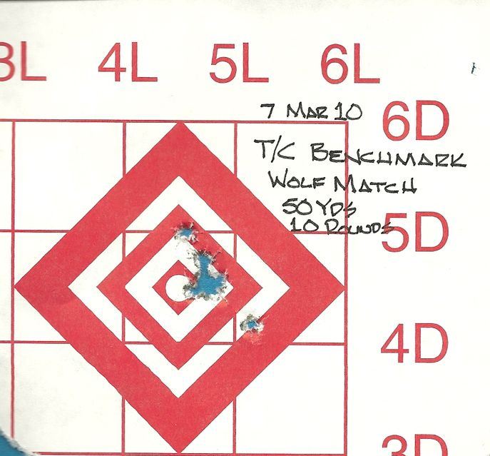 Click to view full size image  ==============  T/C Benchmark  10 shot group from T/C Benchmark using Wolf Match ammo at 50 yards, from a bench