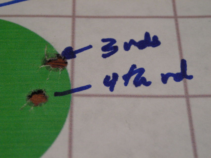 Click to view full size image  ==============  .204 Ruger BEST 125yd group Fired three rounds and doubted what I saw through scope.  Fired 4th round a bit low and left to confirm I was hitting paper.