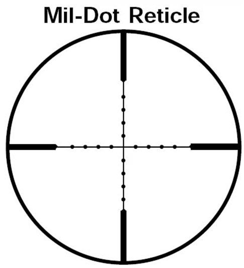 Mil-Dot Reticle The Mil-Dot reticle has a center crosshair with dots spaced one milli-radian apart, the equivalent of 3.6 MOA or 3.6 inches at 100 yards. The dots are typically 0.2 mils in diameter. A Mil-Dot scope can do it all; range estimation, BDC, and windage. However, it takes some calculation and memorization of what range each mil-dot represents. Some shooters affix a ballistic reference card to their rifle stock. Range estimates for a deer or antelope sized target, assuming an 18-inch chest, are 5 mils for a deer at 100 yards, 2.5 mils for 200 yards, 1.7 for 300, 1.25 for 400, and 1.0 mil for 500 yards. Military sniper scopes of the recent past have been 10x which has become a standard reference for many variable power Mil-Dot scopes but not all. Thus, check to make sure what magnification power the Mil-Dot reticle is reference to. Some manufacturers will use the scopes maximum power. You can search the web and find abundant information on how to use a Mil-Dot scope.
