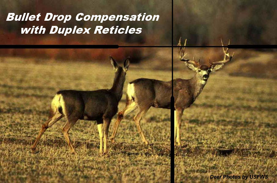Bullet Drop Compensation with Duplex Reticles If this buck was 420 yards away, could you take this shot with confidence? This article describes how a hunter can use a duplex reticle and a variable power scope to compensate for bullet trajectory at longer ranges, or commonly referred to as bullet drop compensation (BDC).